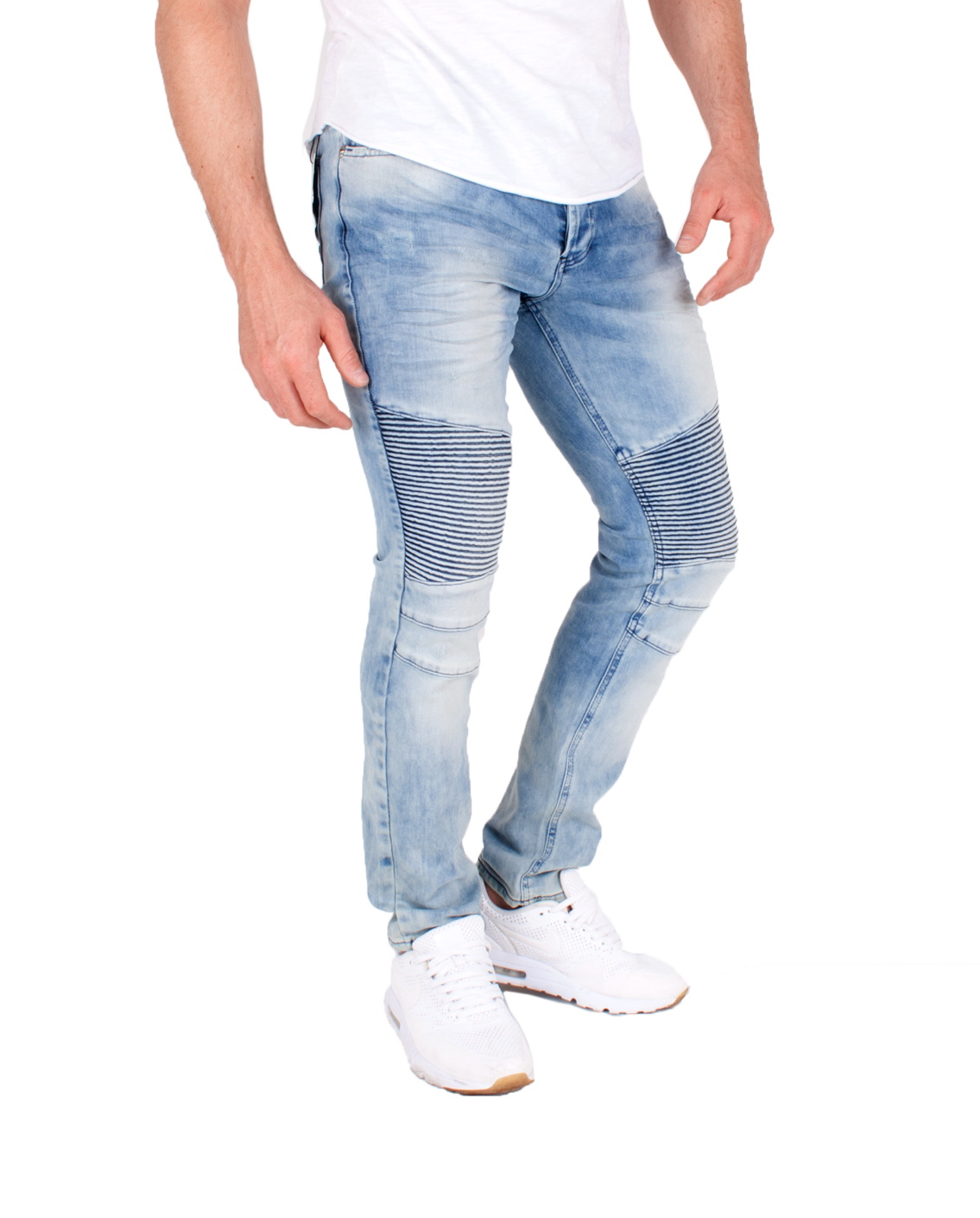 herren biker jeans used skinny denim hose destroyed naht. Black Bedroom Furniture Sets. Home Design Ideas